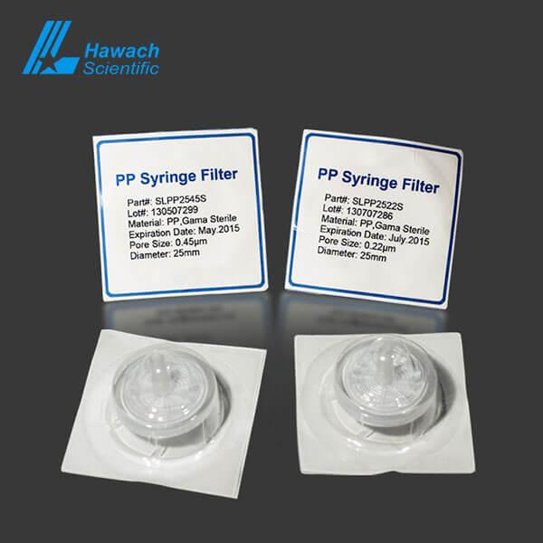 Filtros de jeringa estériles 0,22 PP