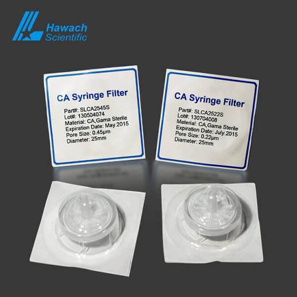 Filtro de jeringa estéril CA para HPLC